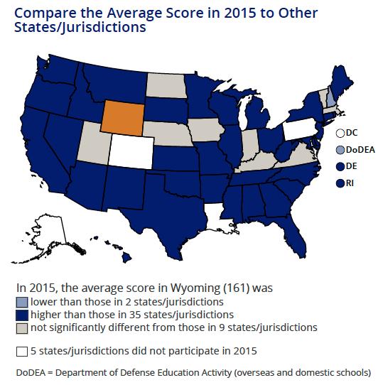 NAEP Science 4th grade map 2015