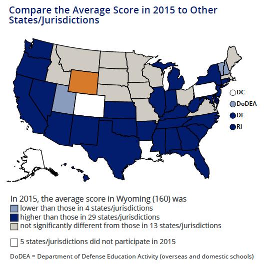 NAEP Science 8th grade map 2015